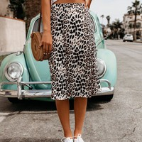 Queen Of The Jungle Leopard Midi Skirt