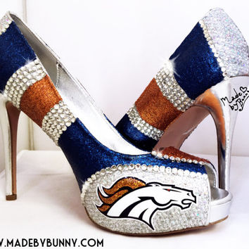 Denver Broncos NFL DESIGN 1 for HEELS | Glitter & Crystal Rhinestone Sports Shoes