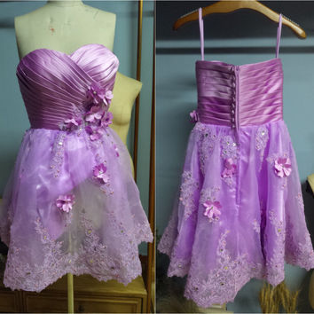 Real Photo Pleated Bodice Sweetheart Neckline Sleeveless Short Knee Length Lavender Dress O029