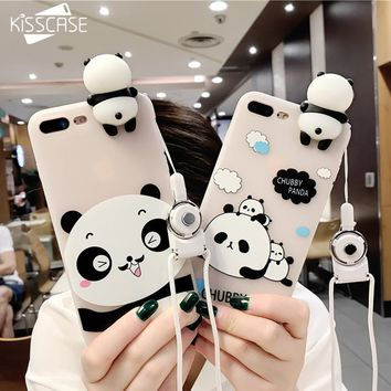 KISSCASE 3D Cute Panda Cases For iphone 7 7 8 Plus 6s 6 Plus Case Lovely Toy Panda Cover Silicon Transparent For iphone 7 8 Case