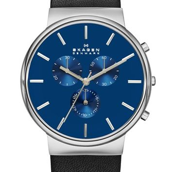 Skagen Chronograph Leather Strap Watch, 40mm - Black/ Blue