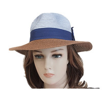 Wide brim fedora hats blown blue