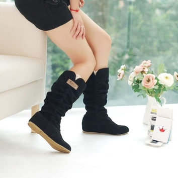 Fashion Womens Autumn/Winter Inner Wedges Flat Heel Mid-Calf Suede Leather Boots = 1932745796