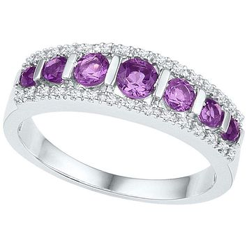 10kt White Gold Women's Round Lab-Created Amethyst Band Ring 3/4 Cttw - FREE Shipping (US/CAN)