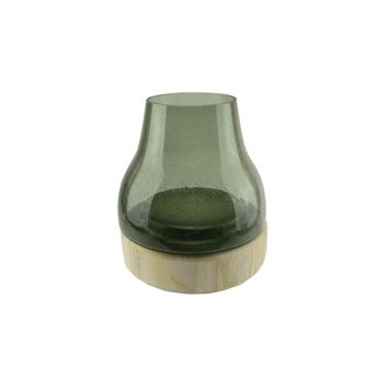"""9.75"""" Storm Gray Bubble Glass Pillar Candle Holder with Wooden Base"""