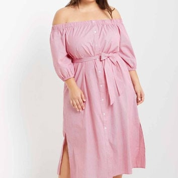 Maripose Striped Off the Shoulder Maxi Dress Plus Size