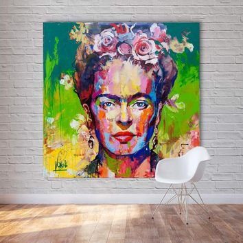 SELFLESSLY ART Frida Kahlo Portrait Printing Wall Art Canvas Paintings Poster and Print Realismus Pictures for Living Room Decor