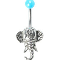 14G Steel Boho Elephant Navel Barbell