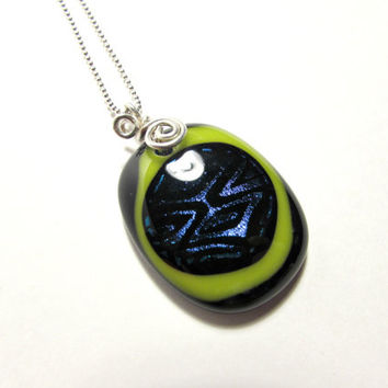 Dichroic Glass Necklace with Sterling Silver Chain and Wire Wrap Bail