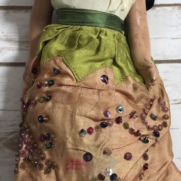 Antique Doll Native American Girl Porcelain Rare