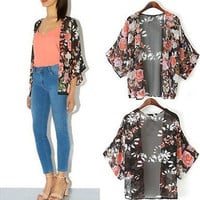 S-5XL Plus Size Sheer Chiffon Floral Flower Printed Cardigan Kimono Top Blouse [8833543564]