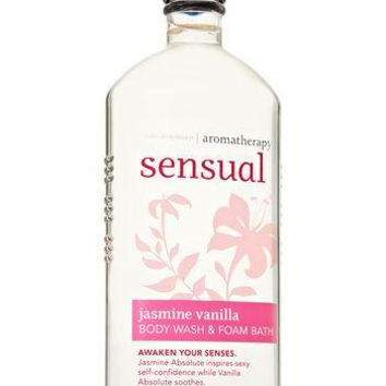 Bath & Body Works AROMATHERAPY Sensual JASMINE VANILLA Body Wash & Foam Bath 10 oz