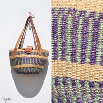Sisal Market Bag // Purple and Green Striped // African Bag // Weaved Purse Tote // Vintage 1980s
