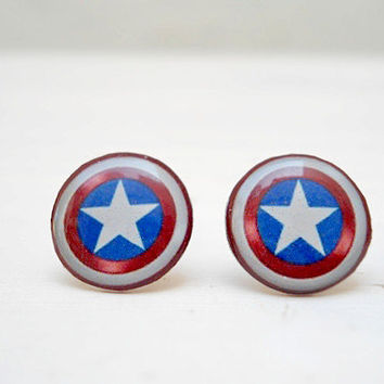 Captain America Earring, Super Hero, White Blue Red, Geek Jewelry
