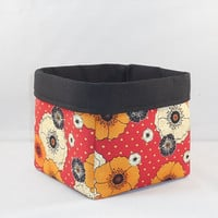 Red And Black Poppy Themed Fabric Basket For Storage Or Gift Giving