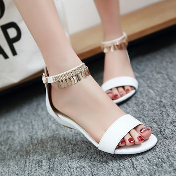 Stylish Design Summer Plus Size Flat Wedge Sweets Metal Decoration England Style Sandals [4920246084]