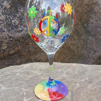 Peace Signs Hippie hand painted wine glass