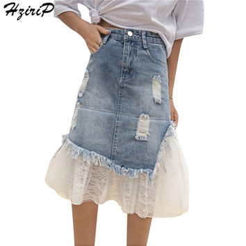 HziriP Women Skirt Jeans Hole Mesh A-line 2017 New Arrival Casual Vintage Female Denim Skirts Fashion High Waist Ladies Skirt