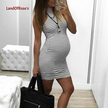 Maternity Summer Casual Stripe Short Sleeve Mini Dress