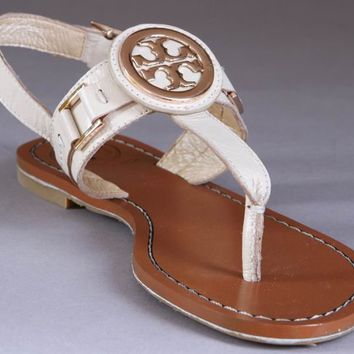 49% off Tory Burch Cassia Sandal Beige for sale at TBFlats.com with free shipping & fast delivery!