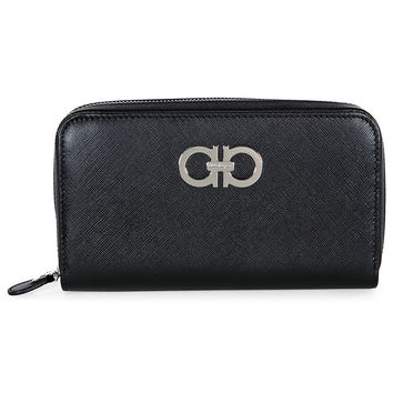 Ferragamo Black Leather Zip Around Wallet