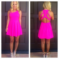 Fuschia Triad Cut Out Back Dress