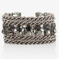 WRAPPED CHAIN AND FACETED BEAD TOGGLE BRACELET from EXPRESS