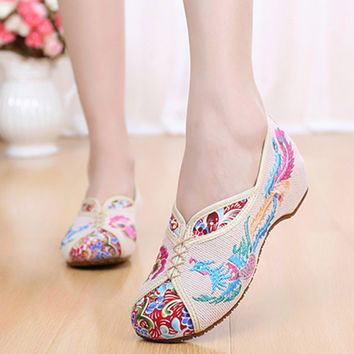 Vintage Canvas Flat Shoes, Phoenix embroidered, comfortable Beijing style