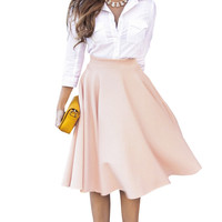 New Simple Solid Color Empire Peach Pink/Black Pleats A Line Ladies Flared High Waist Midi Skirt For Women
