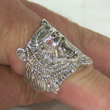 BEAR HEAD BIKER RING BR94R jewelry bears HEAVY rings wild animal silver men lady