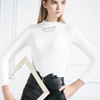 White High Neck Cut Out Cable Knit Sweater