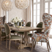 """Evelyn"" Dining Table, ""Blanchett"" Side Chair, and ""Pheasant"" Host Chair - Horchow"