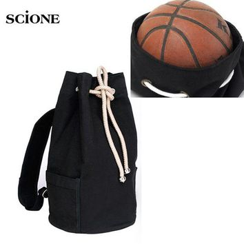 DCCK7N3 Drawstring Canvas Bucket Bags Backpacks for Teenage Boys Men's Outdoors Sports Football Basketball Storage Cycling Bags XA1259A