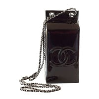 Limited Edition Black Patent Leather CHANEL Milk Carton Bottle Cross Body Bag
