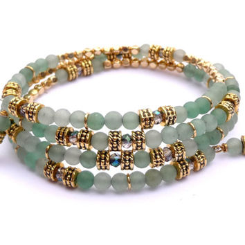 Matte Amazonite, Crystal & Gold-Plated Memory Wire Wrap Bracelet