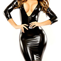 Black Faux Leather Deep V-Neck Bodycon Dress