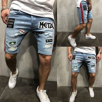 Mens Streetwear Denim Streetstyle Shorts Summer Cotton Casual Short Pants Camo