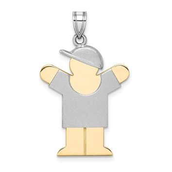 14k Two-Tone Gold Large Boy with Hat on Right Engravable Charm