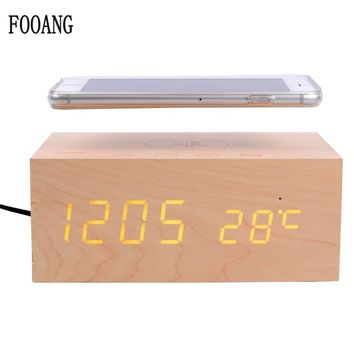FOOANG Wireless speaker bluetooth speakers wood universal qi Wireless charger clock thermometers desktop AUX for tv PC phone