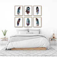 Watercolor FEATHER Wall Art, Boho Bedroom Decor, Watercolor Feather CANVAS or Print, Boho Feather Artwork, Tribal Feather Pictures, Set of 6