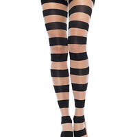 Gothic Glam Sheer Stripes Black Pantyhose