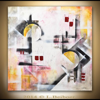 Large painting original 36x36 square abstract painting wall art yellow red abstract modern art oil painting by L.Beiboer