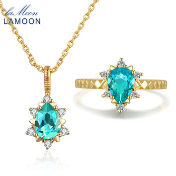 LAMOON 5x7mm 1ct 100% Natural Teardrop Apatite Ring 925 Sterling Silver Jewelry 14K Yellow Gold Jewelry Set WTDP V032-2