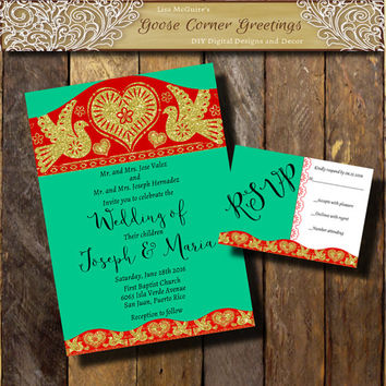 traditional mexican wedding invitations. wildflower bouquet, Wedding invitations