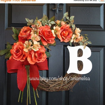 FALL WREATHS SALE summer wreath gift ideas wild roses monogram wreaths front decorations door wreaths