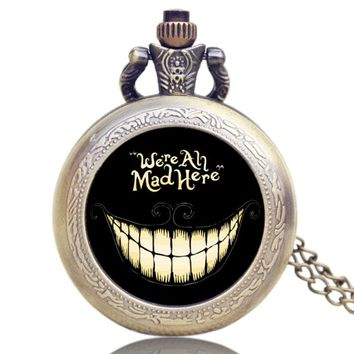 Alice in Wonderland We are All Mad Here Style Pocket Watch Girlfriend's lady Gift Free Shipping
