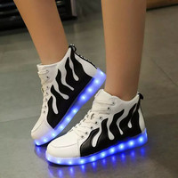 Round-toe Stripes Lightning LED Noctilucent High-top Flat Shoes [4964958020]