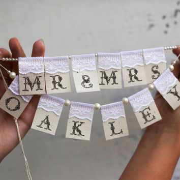 Mr. Mrs.and YOUR name Personalized Сustom Lace Wedding Cake Topper Banner with pearls and burlap
