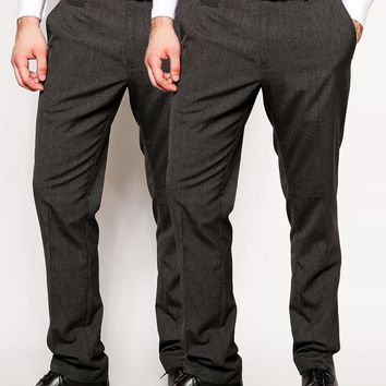 ASOS 2 Pack Basic Smart Pants In Slim Fit SAVE 17%