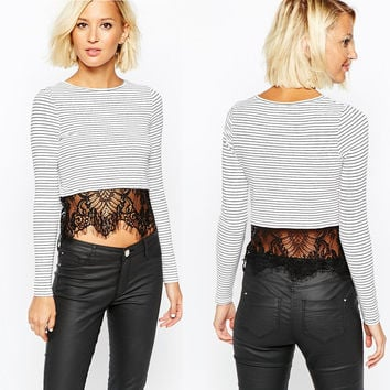 Black And White Stripes Long Sleeves Lace Trimmed Hem Crop Top